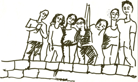 Lina, May, May, Al-Jarah, Misso, Yasmina, Wasseem à Byblos © Doris Tippenhauer