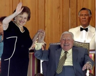 Augusto Pinochet, heureux, peu avant sa mort en 2006. © actualidad.rt.com