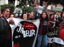 13 décembre 2013 : Manifestation de soutien à Jabeur Mejri (condamné à 7 ans de prison pour « atteinte à la morale, diffamation et perturbation de l'ordre public » après la publication de caricatures du prophète Mahomet sur Facebook) et à Weld El 15 (alias Alaa Yaakoubi, condamné puis relâché pour �