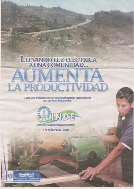 Publicité pour l'électrification rurale. © Prensa Libre