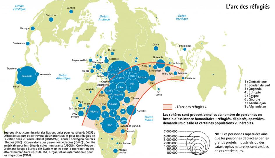 L'arc des réfugiés et déplacés internes. Carte: Philippe Rekacewicz.