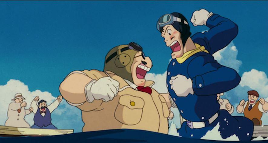 Le combat final entre Porco et Curtis (Porco Rosso)