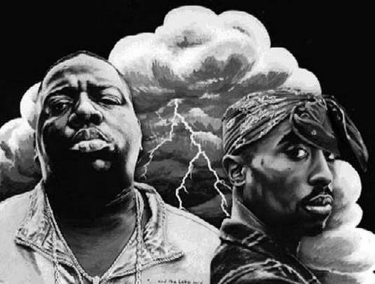 Notorious B.I.G et Tupac Shakur aujourd'hui morts. © Musicwalls.org
