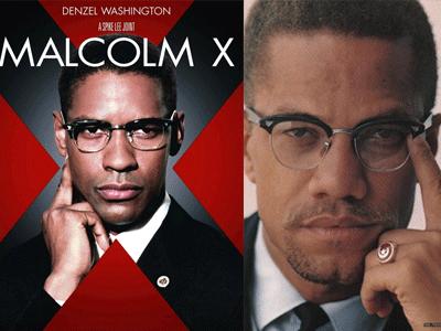 Affiche du film de Spike Lee avec Denzel Washington dans le rôle de Malcom X et Malcom X - © pieuvre.ca, segregationtpe.centerblog.net