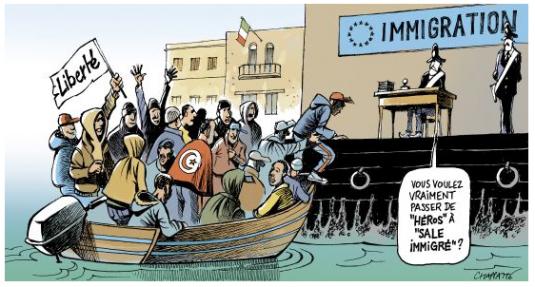 Chapatte : « Lampedusa croule sous l'immigration », www.globecartoon.com/dessin/