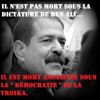 Chokri Belaïd. © Page facebook « d'Info Tunisie » ; https://www.facebook.com/photo.php?fbid=478488758876906&set=a.448438311881951.103066.129040503821735&type=1&theater