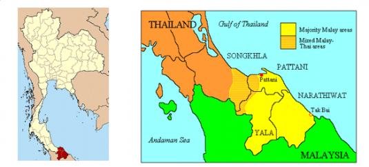Carte de la Thaïlande et de l'ancien sultanat de patani, maintenant divisé en trois provinces. « Malais musulmans » ou « musulmans de Patani » sont les termes communément utilisés pour désigner les membres de la communauté islamique peuplant cette région. © CC Adam Carr / © CC NordNordWest.