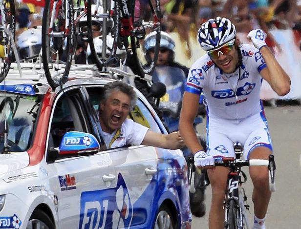 Thibaut Pinot après sa victoire à Porrentruy lors du Tour 2012. © J.P.PELLISSIER/REUTERS