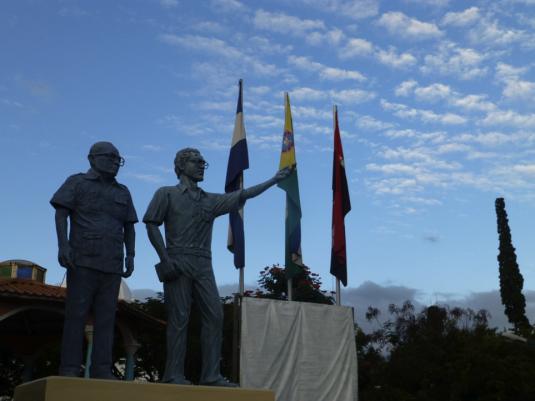 Statuts de Tomás Borge (à gauche) et Carlos Fonseca à Matagalpa © Javier Eraso