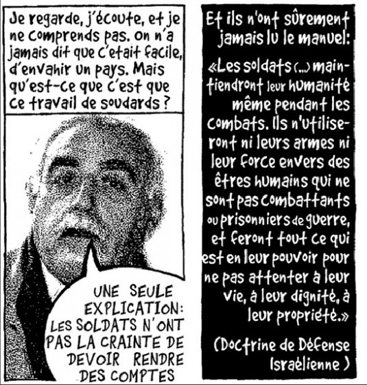 Exemple de photo-dessin : Jabr Wishah, directeur adjoint du Palestinian Center for Human Rights, « Dans l'enclos de Gaza ». Mise en ligne par LeTemps.ch. Parution dans le quotidien Le Temps le 5.2.2009. Parution dans le International Herald Tribune le 9.2.2009 © Chappatte