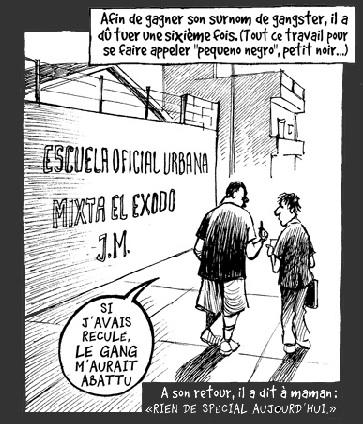 « L'autre guerre à Guatemala-city », Chappatte (dessiné ici à droite) parle avec José, un ex-gangster. Mise en ligne par LeTemps.ch le 14.9.2012. Parution dans le quotidien Le Temps en trois épisodes, du 10 au 12 septembre 2012. © Chappatte