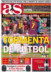 Une du quotidien madrilène AS, lundi 24 mars, qui qualifie le dernier Real Madrid-FC Barcelone d'une « Tempête de football », pour ses décisions arbitrales entre autres, et qui affiche l'opinion de Ronaldo, considérant que l'arbitre « n'avait pas le niveau pour une telle affiche ». © www.as.com