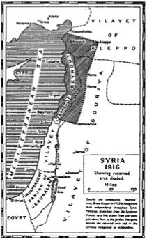 Les territoires exclus des promesses faites aux Arabes, selon George Antonius, montrant ainsi la Palestine comme étant une future entité arabe (38)
