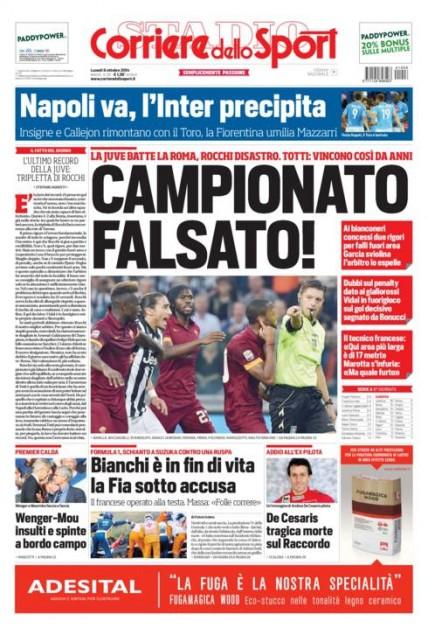 Une du Corriere dello Sport, lundi 6 octobre : Championnat faussé !, récite le titre