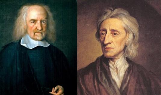 Left: Thomas Hobbes, 1588-1674. Right: John Locke, 1632-1704.