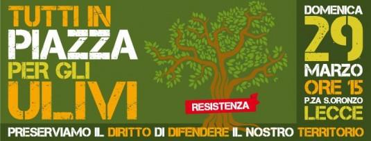 « Tous sur la place pour les oliviers. Préservons le droit de défendre notre territoire. » © Page Facebook Tutti in piazza per difendere gli ulivi del Salento