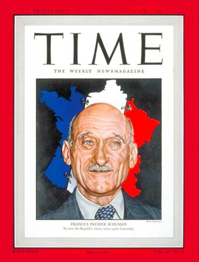 """Robert Schuman avait fait la couverture du """"Time"""", le 1er mars 1948."""
