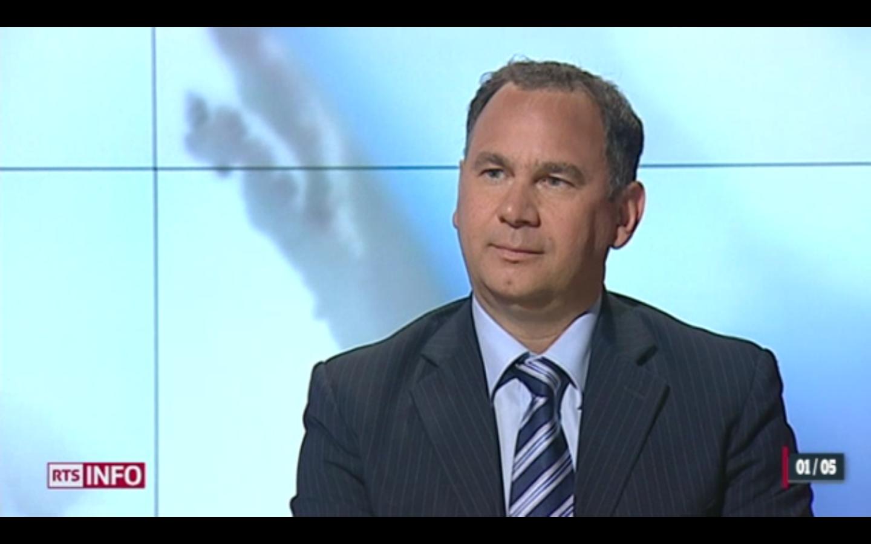 Frédéric Esposito, invité sur le plateau du 19h30 de la RTS le 1er mai 2012.