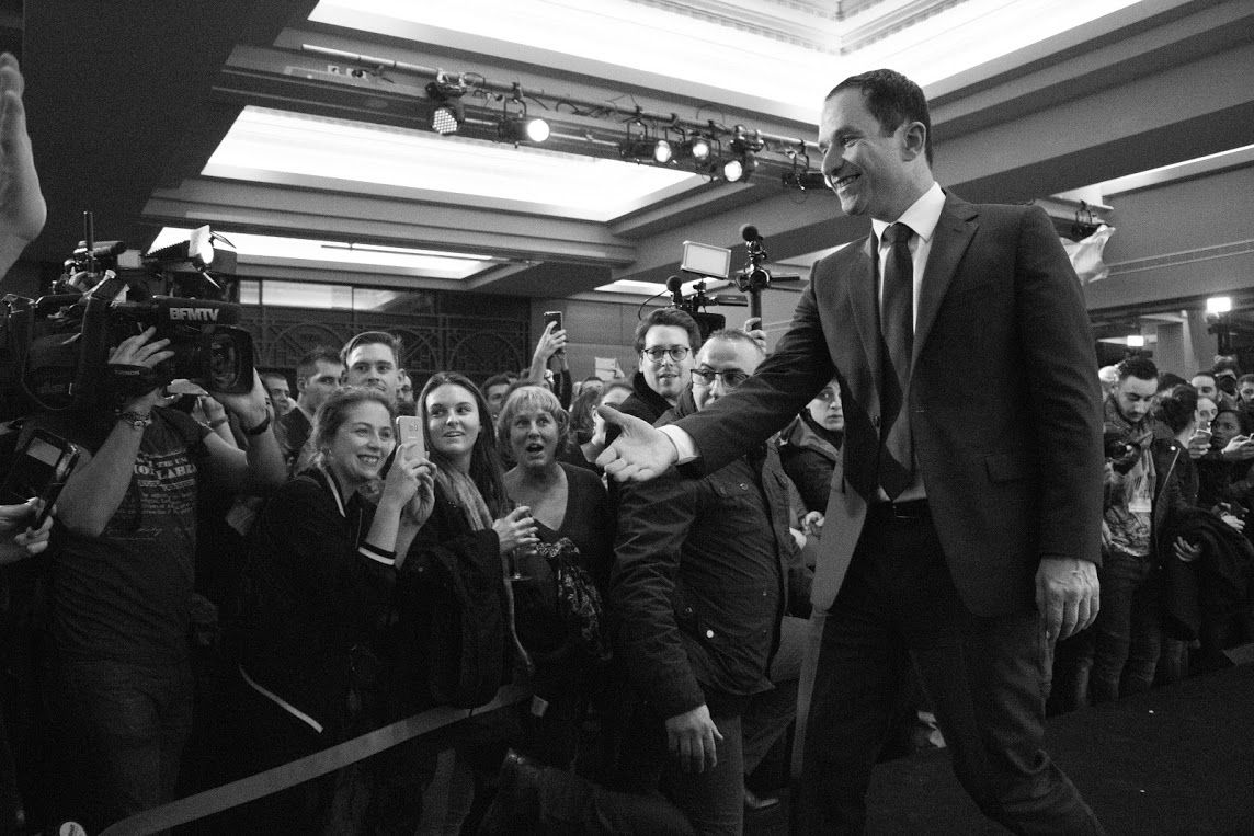 Benoît Hamon en meeting à Saint-Denis. © Marion Germa